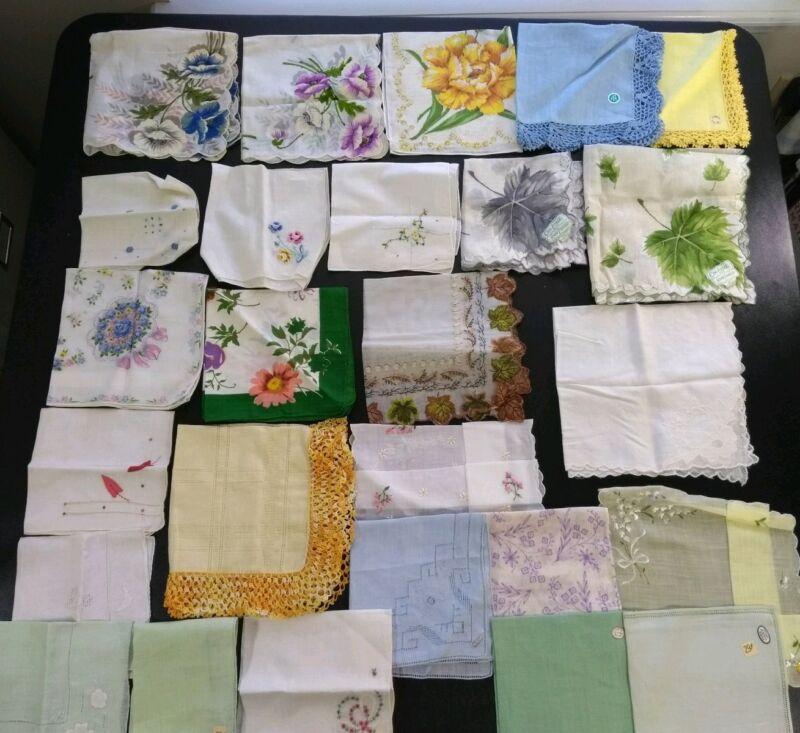 New Vintage Handkerchief Lot Nylon Linen Cotton Embroidered Tags Crochet