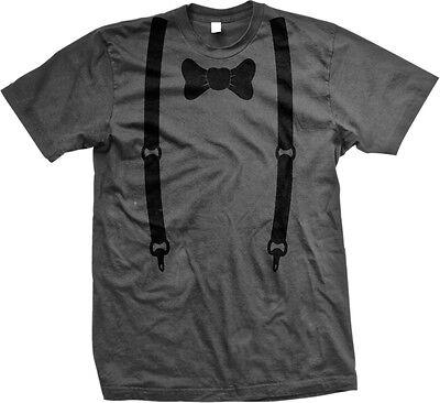 (Bow Tie Suspenders Fake Tuxedo Classy Funny Joke Formal Humor Mens T-shirt)