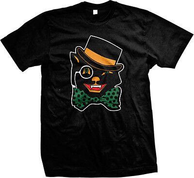 Halloween Black Cat Top Hat Bow Tie Cute Scary Omen Jinx Feline Mens T-shirt (Black Cat Cute Halloween)