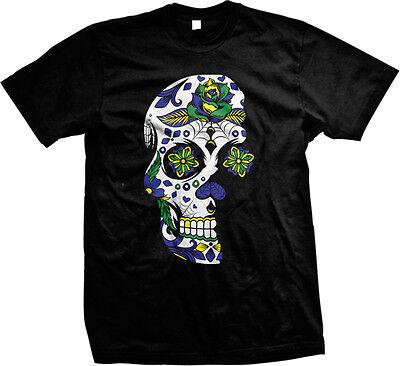 Dia De Los Muertos Sugar Floral Skull Day of the Dead Brasil Brazil Mens T-shirt