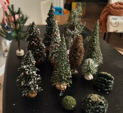 Lot of 12 Vintage Bottle Brush Christmas Trees, Bushes For Train Set, Doll House