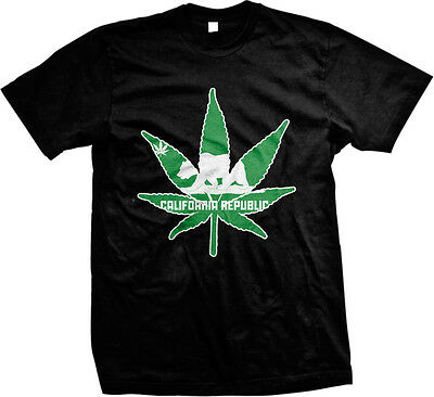 California Republic Pot Leaf Outline Weed 420 Ganja Toke Stoner Mens (Weed Leaf Outline)