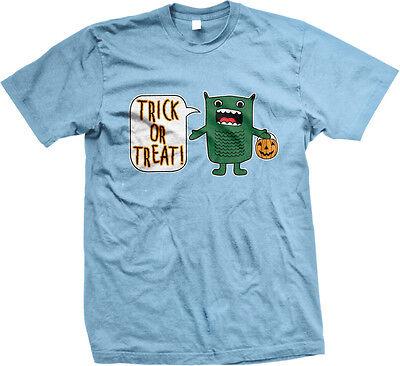Trick Or Treat Green Monster Halloween Pumpkin Candy Cartoon Guy Men's T-Shirt (Cartoon Pumpkins Halloween)