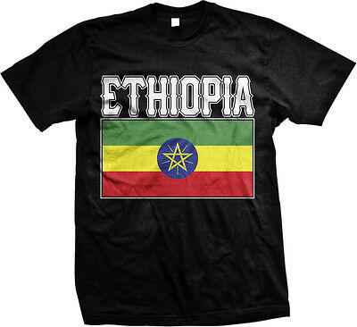 Country Flags T-shirt - Ethiopia Bold Country Flag - Ethiopian Nationality Pride Mens T-shirt