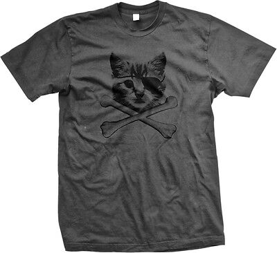 Kitten Pirate Cat With Eye Patch Crossbones Kitty Furball Meme Mens T-shirt