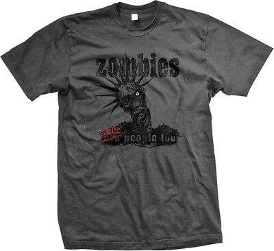 SALE Zombies Are Were People Too Scary One Eye Undead Zombie Charcoal T-shirt (Zombie Sale)