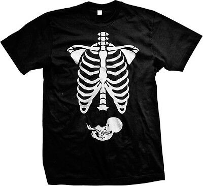 Pregnant Skeleton Ribs Bones Halloween Pregnancy Costume Funny Mens - Pregnancy Halloween Shirts Skeleton