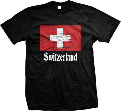 Switzerland Distressed Country Flag - Swiss Pride Mens - Swiss Flag T-shirt