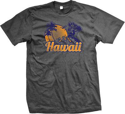Hawaii Palm Trees Sunset Beaches Aloha Hula Girl Dancer Lei Flowers Mens T-shirt - Mens Lei
