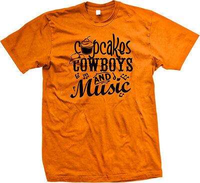 Cupcakes Cowboys And Music Hat Notes Rodeo Country Baked Food Cake Men's T-Shirt