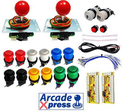 Kit Arcade Premium 2x Joysticks Sanwa Rojos 12 botones 2player Usb 2...
