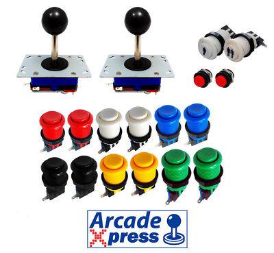 Kit Joystick Arcade x2 Zippy Joysticks Negros 12 botones 2 player Bartop...