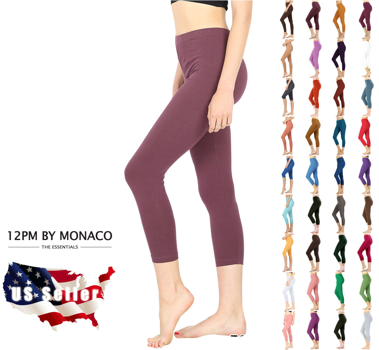 Zenana Capri Leggings Cropped Crop 3/4 Basic Cotton Stretch Pants High Rise Clothing, Shoes & Accessories