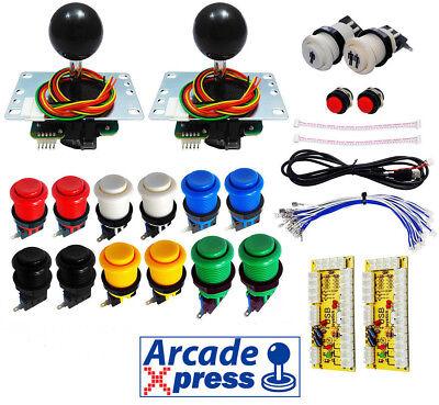 Kit Arcade Premium 2x Joysticks Sanwa Negros 12 botones 2player Usb 2...