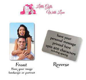 Personalised Aluminium Photo & Text Keepsake Card Ideal For Wallet Purse Inser