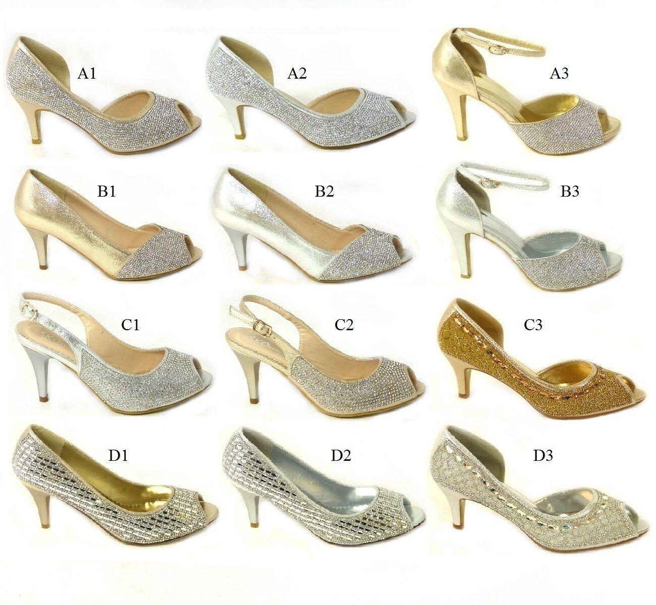 Ladies Womens Slip On High Block Heel Sandals Peep Toe Diamante Wedding Shoes
