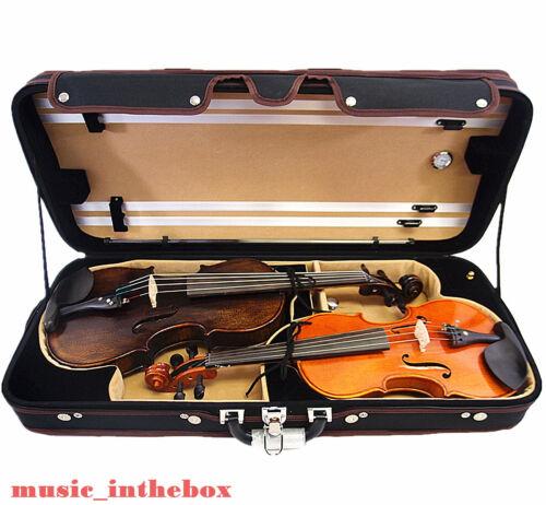 Great  Pro. Wooden Double 4/4 (Violin/Viola) Case - Adjustable