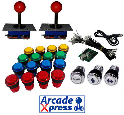 Kit Arcade Iluminado x2 Zippy joysticks rojos 16 botones LED Usb encoder...