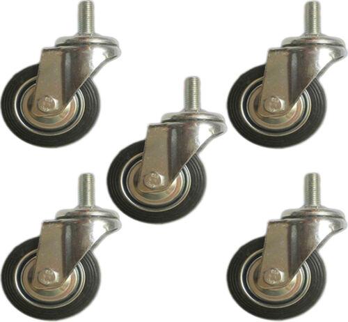 "5 Pack Swivel Stem Caster With 3"" Hard Rubber Wheel 1.25"" Tall Threaded Stem"
