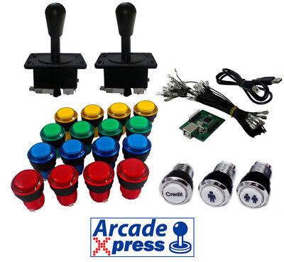 Kit Arcade Iluminado x2 Joysticks Americanos Negros 16 botones LED + Usb...