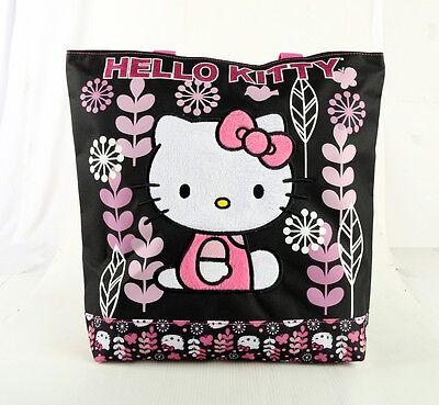 Hello Kitty Women Girls Tote Bag Handbag Purse Shopper Sanrio - Black Flowers