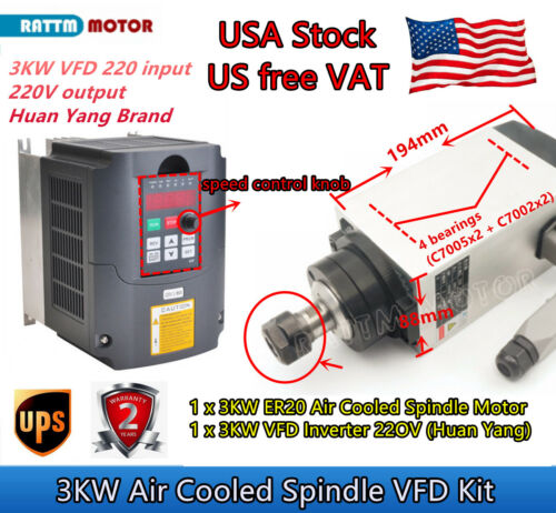 『USA』Air cooling 3KW ER20 220V CNC Spindle Motor w/ Huan Yang 2.2kw Inverter VFD