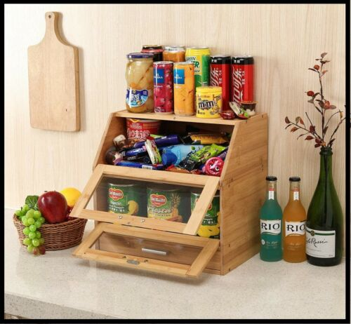 Natural Bamboo 2 Layer Bread Box with Clear Window Cutlery Tray Drawer organizer