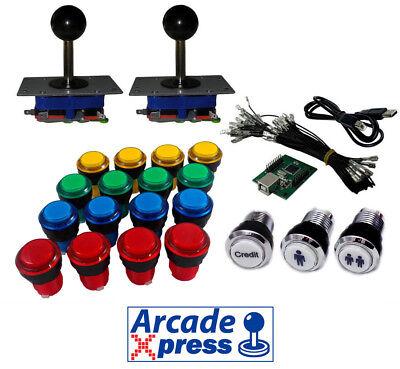 Kit Arcade Iluminado x2 Zippy joysticks negros 18 botones LED USB encoder...