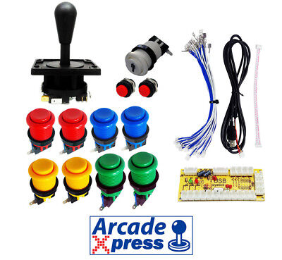 Kit Arcade Eurojoystick 2 Happ x1 Industrias Lorenzo negro 11 botones USB...