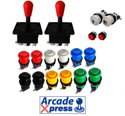 Kit Joysticks Americanos Arcade x2 Rojos Red 12 botones 2 player MAME...