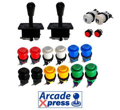 Kit Joysticks Americano Arcade x2 Joysticks Negros 12 botones 2 player