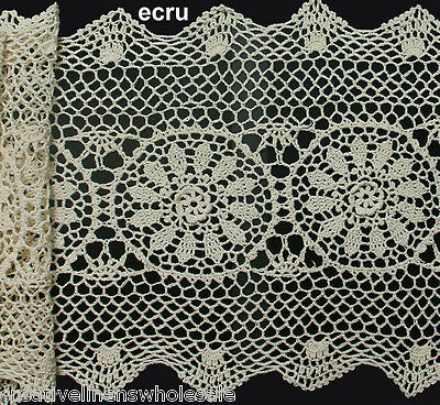 """Creative Linens 14x54"""" Beige Cotton Crochet Lace Table Runner FREE S&H"""