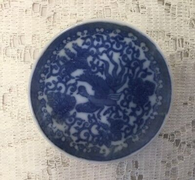 Japanese Phoenix Bird Blue White Flying Turkey China Butter Pat Dish.    *1750