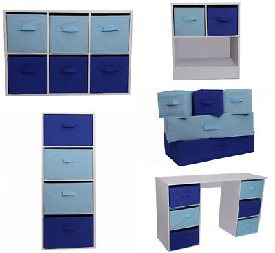 Kids Storage Canvas Drawers Children Bedroom Bookcase Toy Chest Light Dark Blue