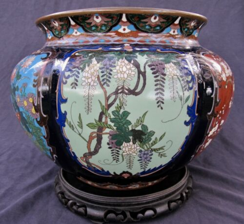 "Fine Antique Japanese Meiji Cloisonne Lobed Six Panel Large Vase 11 3/4"" Wide"