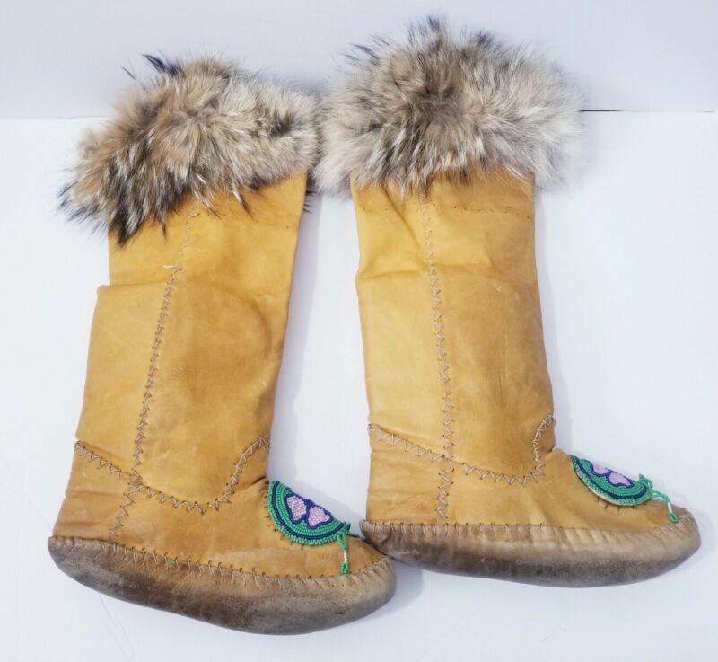 Vintage Cree Beaded Hide Fur Trim Plains Indian Moccasins Mukluks 1970s