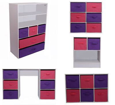 Kids Storage Canvas Drawers Children Bedroom Bookcase Toy Chest Pink & Purple