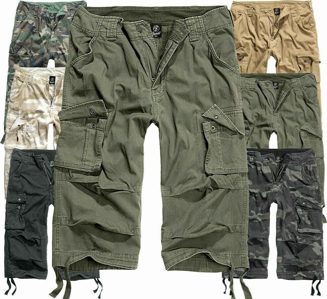 Grün Herren Cargo Jeans Shorts Sommer Hose Denim Beintasche