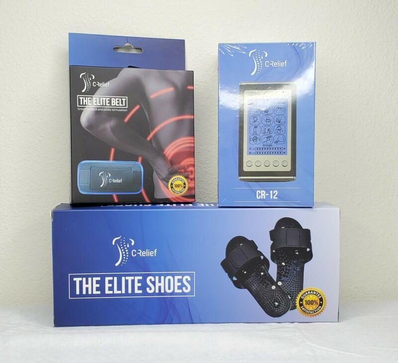 Crelief CR12 Tens Unit 12 Modes - Elite Shoes & Belt Bundle Pain Muscle Relief