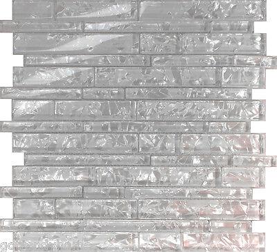1SF White Pearl Scent Linear Glass Mosaic Tile Kitchen Backsplash Wall (Pearl Glass Wall)