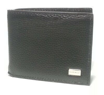 Bruno Magli Men Black Leather Wallet Bi-Fold $145