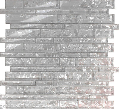 10SF White Pearl Scent Linear Glass Mosaic Tile Kitchen Backsplash Wall Sink - Glass Pearl Tile