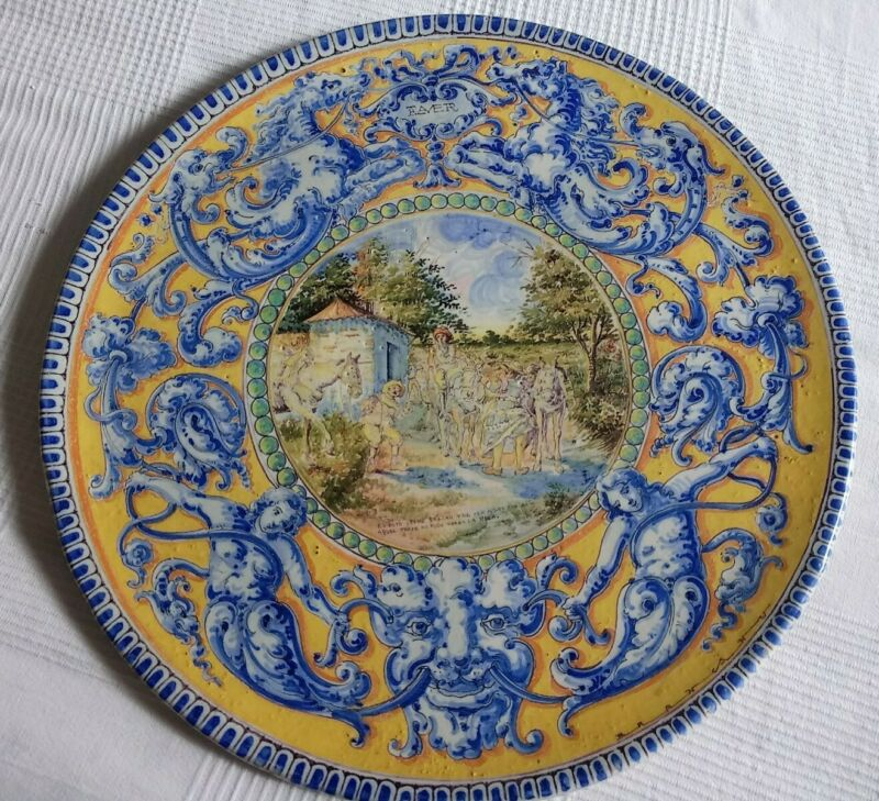 """18th Century Antique Talavera Faience/Majolica Charger 20.75"""""""