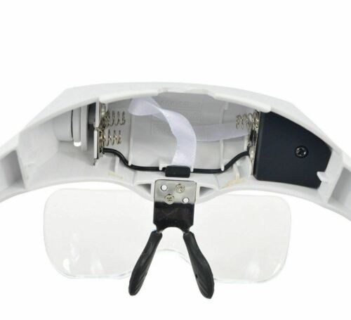 Magnifying Glass Lens LED Light Lamp Visor Head Loupe Jeweler Headband Magnifier Jewelry & Watches