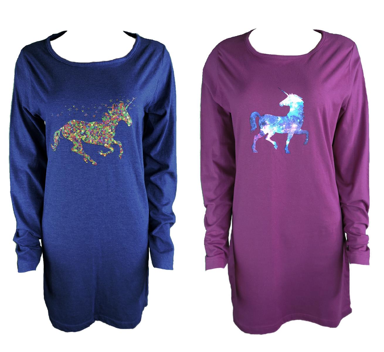 Damen Nachthemd Sleepshirt Langarm Blau Lila Baumwolle Gr. S M L XL