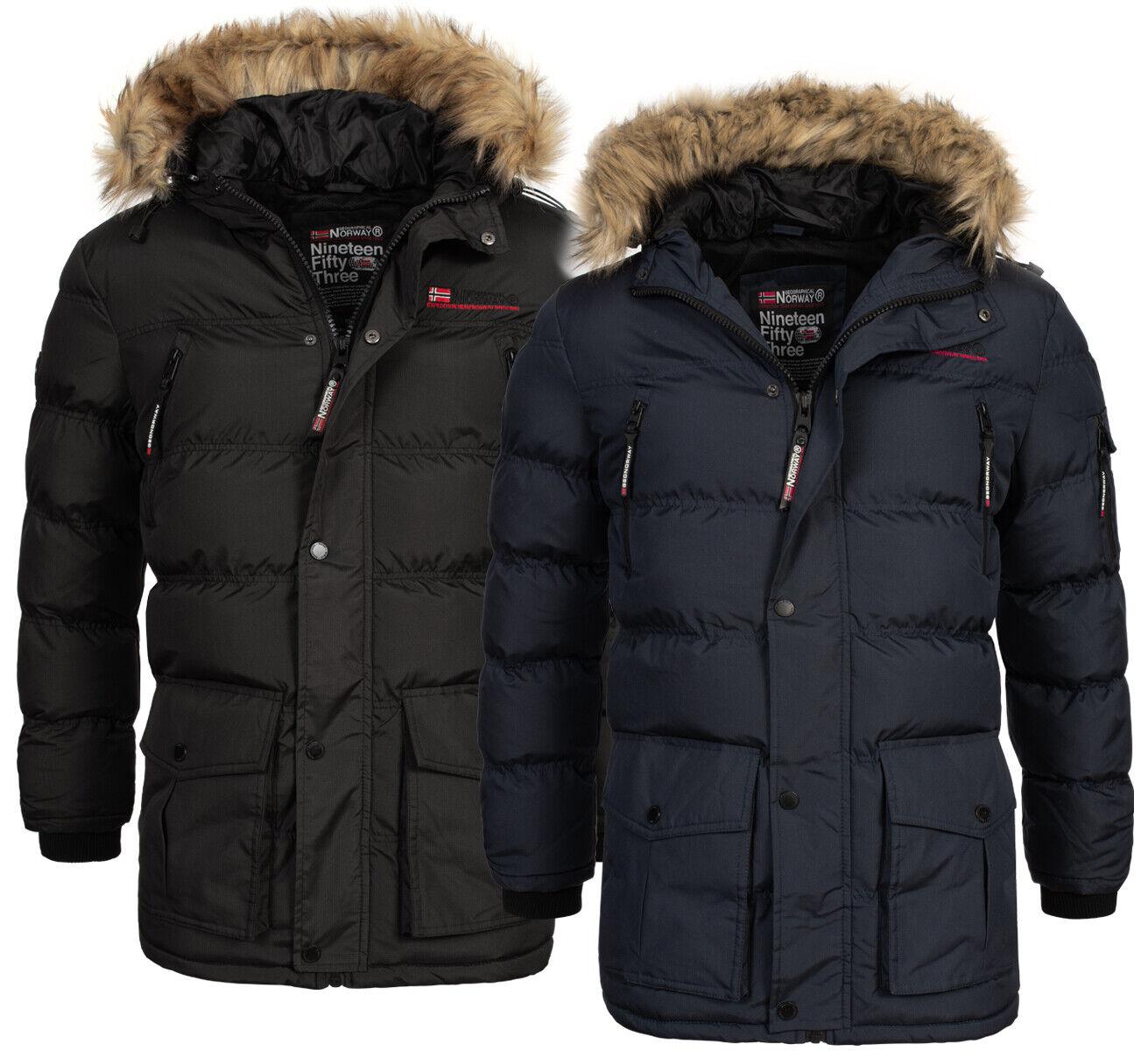 Geographical Norway warme Herren Winter Jacke FVSA Outdoor Parka Mantel Kapuze