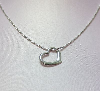 18 INCH 14KT WHITE GOLD EP 1mm SPARKLING TWISTED COBRA CHAIN w/ FLOATING HEART