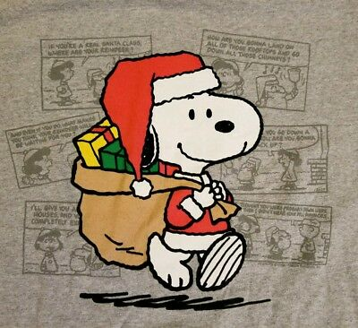 Charlie Brown Christmas Costumes (XL Peanuts Snoopy Santa Claus Costume T-shirt Punk Rock Christmas Charlie Brown)