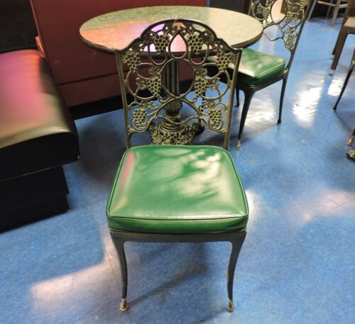 Vintage Cast Iron Restaurant Chair with Green Seat