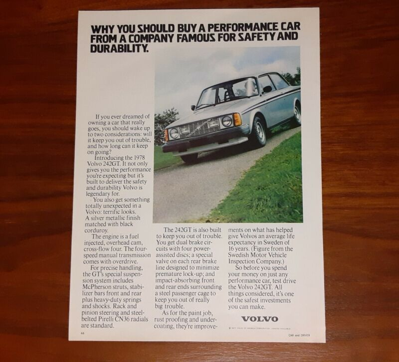 VOLVO 242GT MAGAZINE ADVERTISEMENT 1978 PERFORMANCE CAR FROM SAFETY COMPANY